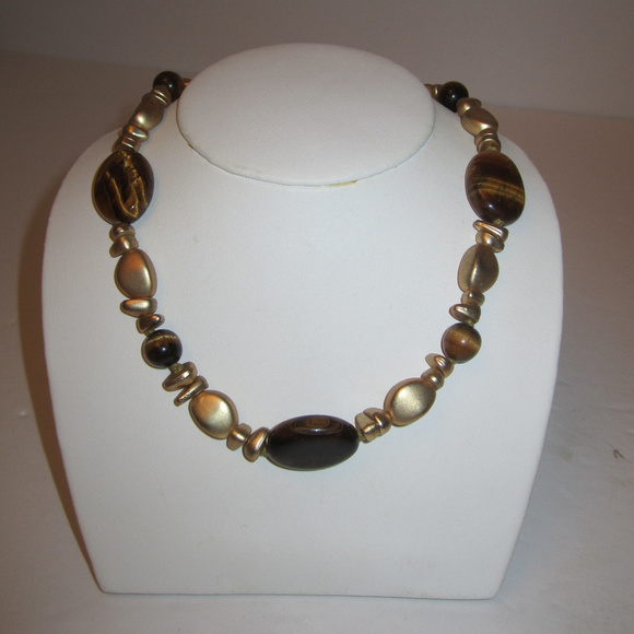 Tiger's Eye Beaded Necklace by Chaps